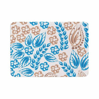 Flowers by Maria Bazarova Memory Foam Bath Mat Color: Blue/White, Size: 36 L x 24 W