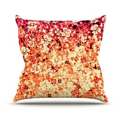 Flower Power Outdoor Throw Pillow Color: Orange