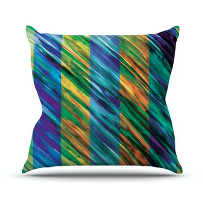 Set Stripes by Theresa Giolzetti Outdoor Throw Pillow Color: Blue/Yellow