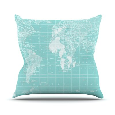 Welcome to my World by Catherine Holcombe Outdoor Throw Pillow Color: Turquoise
