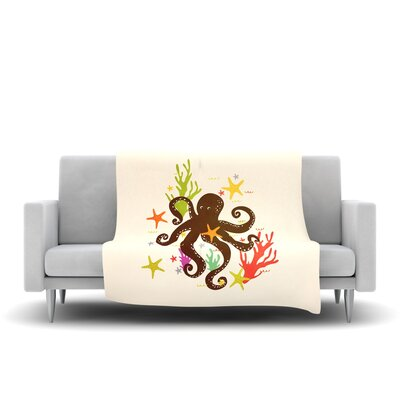 Friends Around The Sea Fleece Throw Blanket Size: 40 L x 30 W