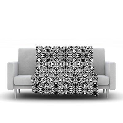 Diamond Illusion Damask by Mydeas Fleece Throw Blanket Size: 40 L x 30 W, Color: Black/White