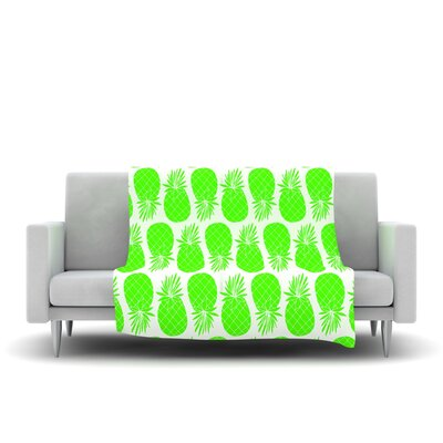 Pinya Lime by Anchobee Fleece Throw Blanket Size: 40 x 30, Color: Green