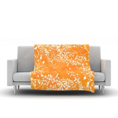 Twigs Silhouette Fleece Throw Blanket Size: 80 L x 60 W, Color: Orange
