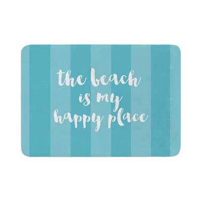 Beach is My Happy Place by Sylvia Cook Memory Foam Bath Mat Color: Blue