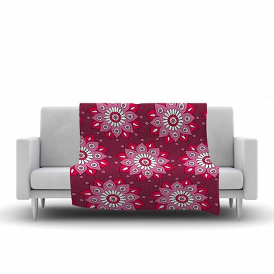 Flower Burst by Sarah Oelerich Fleece Blanket Color: Raspberry