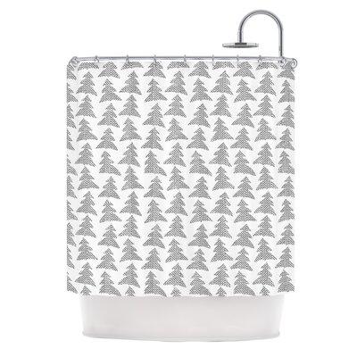 Herringbone Forest by Michelle Drew Shower Curtain Color: Gray/White