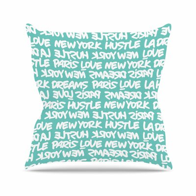 Lux Writing Throw Pillow Color: White / Teal, Size: 26 H x 26 W x 7 D