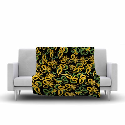Flowers Fleece Throw Blanket Color: Yellow, Size: 80 L x 60 W