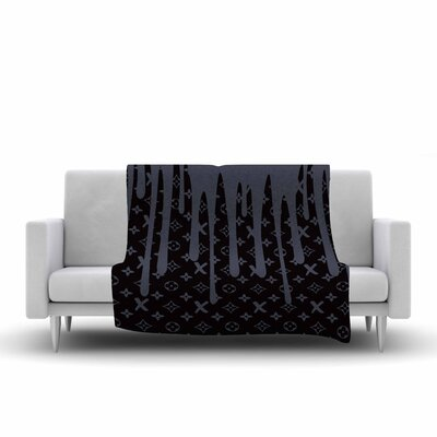 LX Drip Fleece Throw Blanket Size: 60 L x 50 W, Color: Black