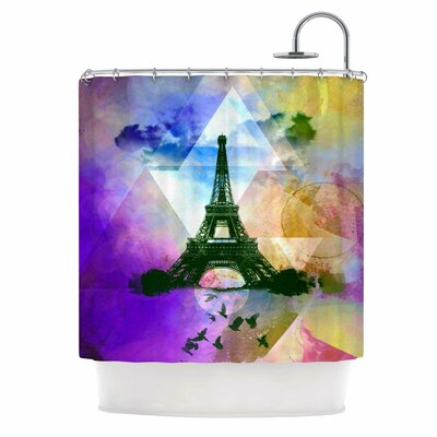 Eiffel Tower by AlyZen Moonshadow Shower Curtain Color: Yellow