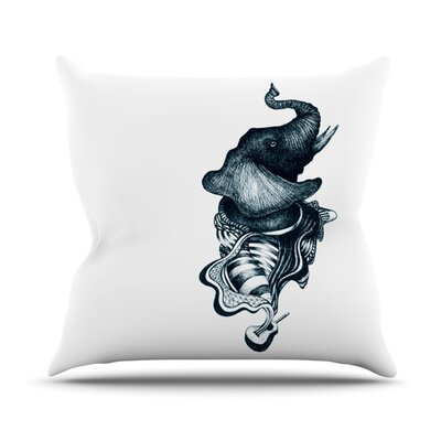 Elephant Guitar by Graham Curran Outdoor Throw Pillow Color: White