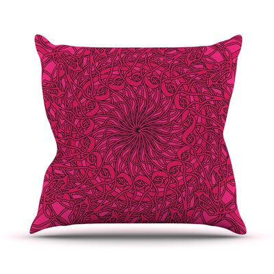 Mandala Spin Berry by Patternmuse Throw Pillow Size: 16 H x 16 W