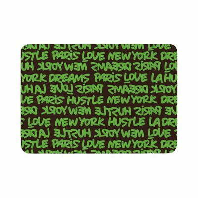 Lux Writing by Just L Memory Foam Bath Mat Size: 36 L x 24 W, Color: Green/Brown