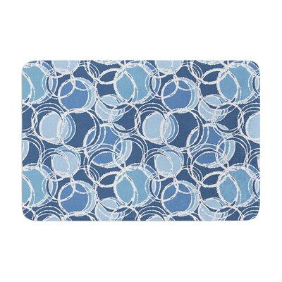 Simple Circles by Julia Grifol Bath Mat Color: Blue, Size: 24 W x 36 L