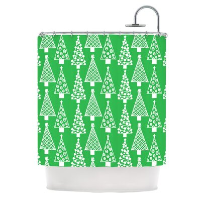 Jolly Trees by Emine Ortega Shower Curtain Color: Green