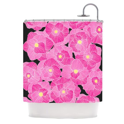 In Bloom by Skye Zambrana Floral Shower Curtain Color: Pink
