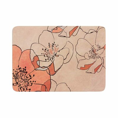 Painted Wild Roses by Alison Coxon Bath Mat Color: Red