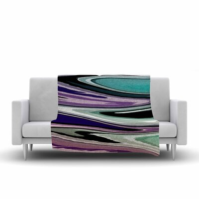 Beach Waves Fleece Throw Blanket Size: 60 L x 50 W, Color: Purple