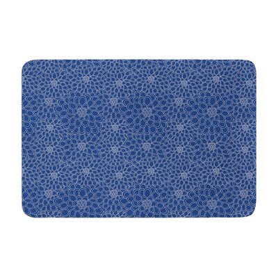 Flowers by Julia Grifol Bath Mat Color: Blue, Size: 24 W x 36 L