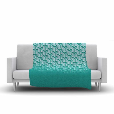 No Yard Fleece Throw Blanket Color: Teal, Size: 90 L x 90 W