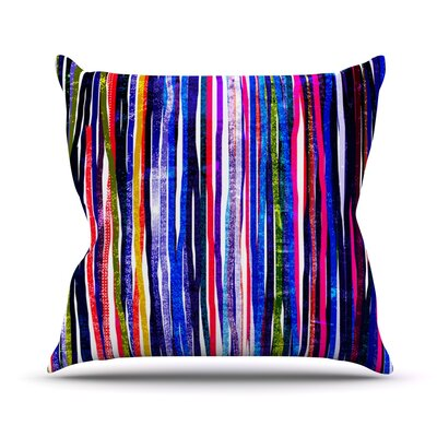Fancy Stripes Outdoor Throw Pillow Color: Purple