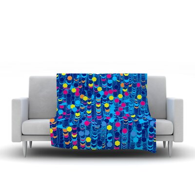 Color Hiving by Frederic Levy-Hadida Fleece Throw Blanket Size: 80 H x 60 W, Color: Blue