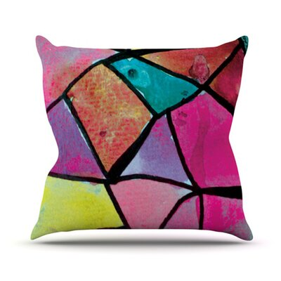 Stain Glass by Theresa Giolzetti Outdoor Throw Pillow Color: Blue/Pink