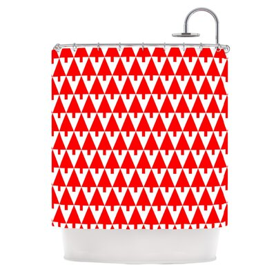 Happy X-Mas by Gabriela Fuente Geometric Shower Curtain Color: Red
