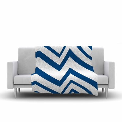 Zig Zag by NL Designs Fleece Blanket Color: Navy