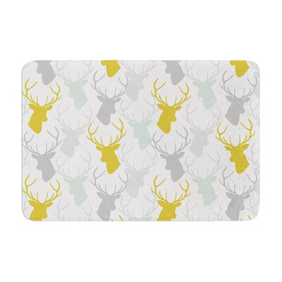 Scattered Deer by Pellerina Design Bath Mat Color: White, Size: 17W x 24L