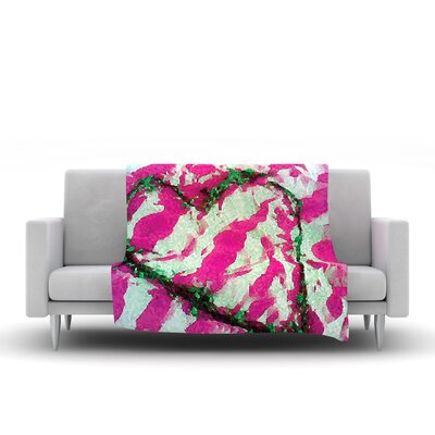 Tiger Love by Anne Labrie Fleece Throw Blanket Size: 80 L x 60 W, Color: Pink