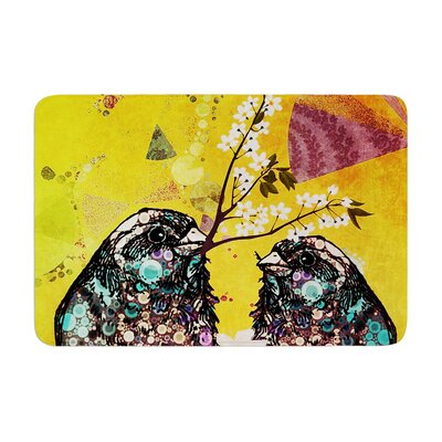 Birds In Love by alyZen Moonshadow Bath Mat Color: Yellow, Size: 24 W x 36 L