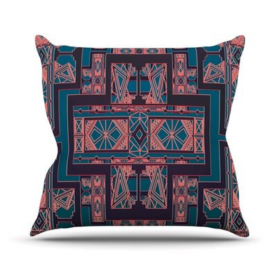 Outdoor Throw Pillow Color: Blue / Coral