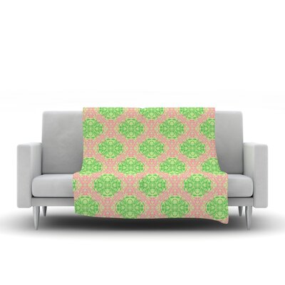 Diamond Illusion Damask by Mydeas Fleece Throw Blanket Size: 40 L x 30 W, Color: Watermelon