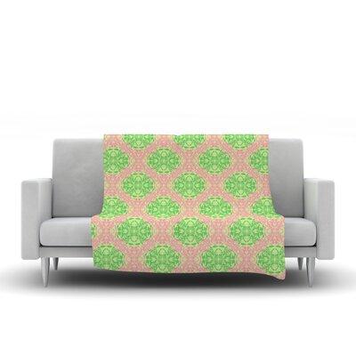 Diamond Illusion Damask by Mydeas Fleece Throw Blanket Size: 40 L x 30 W, Color: Watermelon