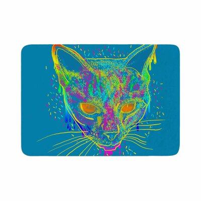Candy Cat by Frederic Levy-Hadida Memory Foam Bath Mat Color: Aqua