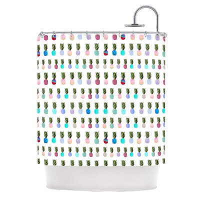 Pineapple People by Monika Strigel Shower Curtain Color: White