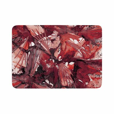 Birds of Prey by Ebi Emporium Memory Foam Bath Mat Size: 36 L x 24 W, Color: Red/Black
