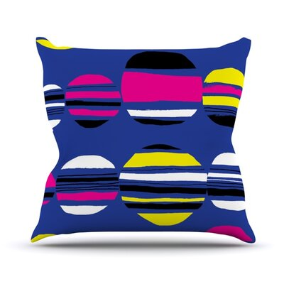 Circles Outdoor Throw Pillow Color: Cobalt