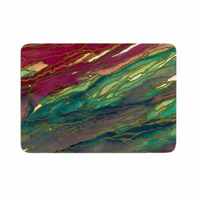 Agate Magic by Ebi Emporium Memory Foam Bath Mat Size: 24 L x 17 W, Color: Bold Red/Aqua