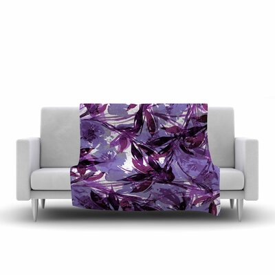 Floral Fiesta Fleece Throw Blanket Size: 60 L x 50 W, Color: Purple