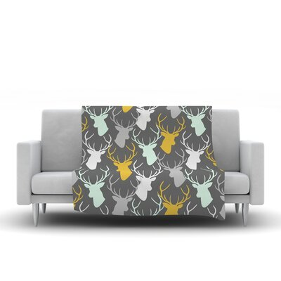 Scattered Deer by Pellerina Design Fleece Throw Blanket Size: 60 L x 50 W, Color: Gray