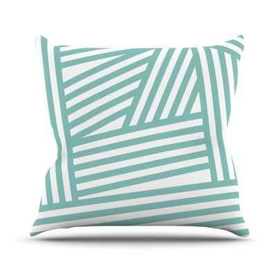 Stripes by Louise Machado Outdoor Throw Pillow Color: Aqua