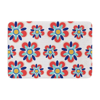 Folksy by Jolene Heckman Bath Mat Color: Red, Size: 17W x 24L