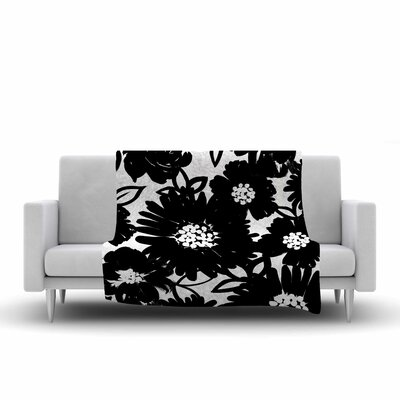 Monochromatic Blooms Fleece Throw Blanket Size: 90 L x 90 W