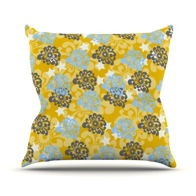 Flowers by Nandita Singh Outdoor Throw Pillow Color: Blue/Yellow/Gray