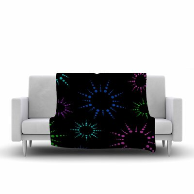 Fireworks Fleece Throw Blanket Color: Black, Size: 90 L x 90 W