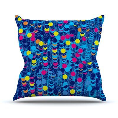 Color Hiving by Frederic Levy-Hadida Outdoor Throw Pillow Color: Blue