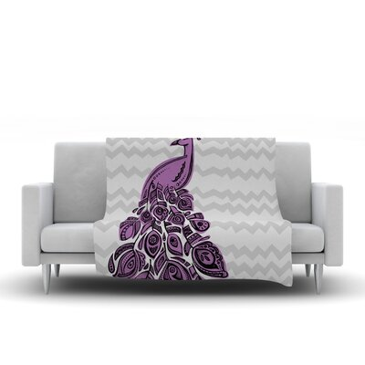 Peacock by Brienne Jepkema Fleece Throw Blanket Size: 40 x 30, Color: Purple